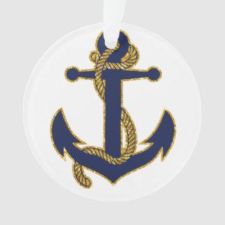 Nautical Christmas Ornament Blue Anchor Acrylic