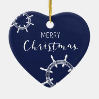 Nautical Christmas Ornament Heart Merry Wheels