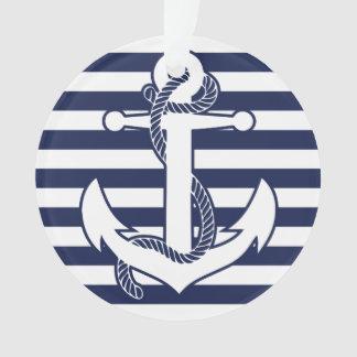 Nautical Christmas Ornament White Acrylic Anchor