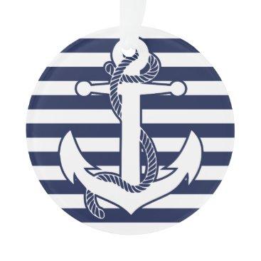 Christmas Themed Nautical Christmas Ornament White Acrylic Anchor