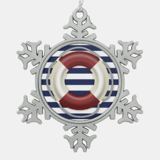 Nautical Christmas Ornaments Pewter Lifesaver at Zazzle