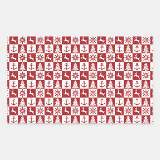Nautical christmas rectangular sticker