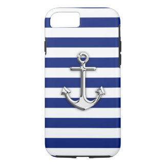 Nautical Chrome Anchor on Navy Stripes iPhone 7 Case