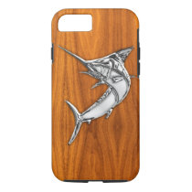 Nautical Chrome Blue Marlin on Teak Wood Print iPhone 7 Case