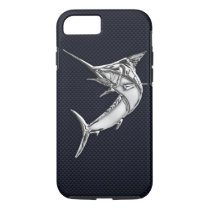 Nautical Chrome Blue Marlin on Teak Wood Print iPhone 8/7 Case