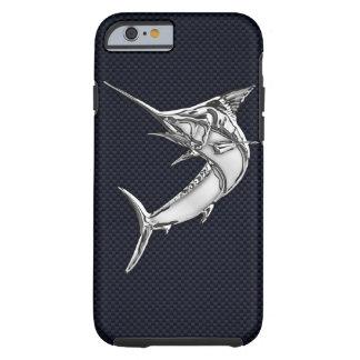 Nautical Chrome Blue Marlin on Teak Wood Print Tough iPhone 6 Case