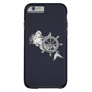 Nautical Chrome Mermaid on Carbon Fiber Print Tough iPhone 6 Case