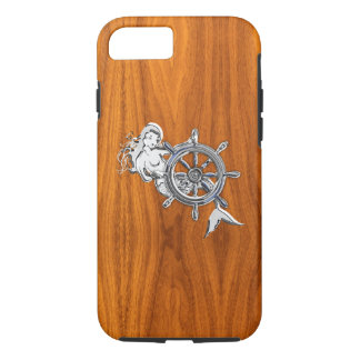 Nautical Chrome Mermaid on Teak Wood Print iPhone 8/7 Case