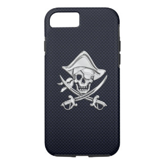 Nautical Chrome Pirate on Carbon Fiber Print iPhone 8/7 Case