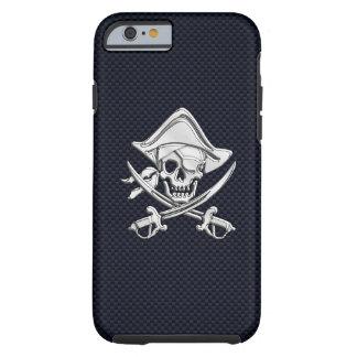 Nautical Chrome Pirate on Carbon Fiber Print Tough iPhone 6 Case