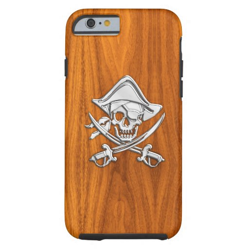Nautical Chrome Pirate on Teak Wood Print Tough iPhone 6 Case