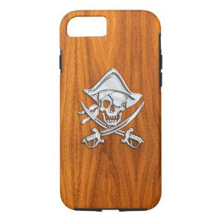 Nautical Chrome Pirate on Teak Wood Print iPhone 8/7 Case