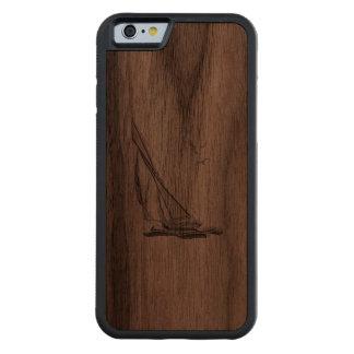 Nautical Chrome Sail Boat Print Carved® Walnut iPhone 6 Bumper Case
