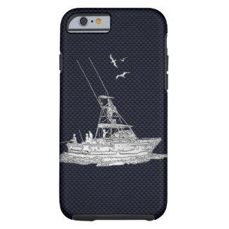 Nautical Chrome Sport Fishin on Carbon Fiber Print Tough iPhone 6 Case