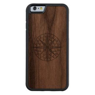 Nautical Chrome Star Compass Print Carved Walnut iPhone 6 Bumper Case