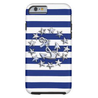 Nautical Chrome Yacht Flag on Navy Stripes Print Tough iPhone 6 Case