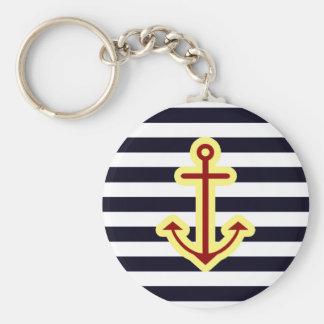 Nautical Classic Anchor Basic Round Button Keychain