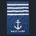 """Nautical Classic Anchor Your Boat Name Navy Blue Kitchen Towel<br><div class=""""desc"""">Custom Nautical Classic Anchor with Your Personalized Boat Name on a Navy Blue Kitchen Towel.</div>"""