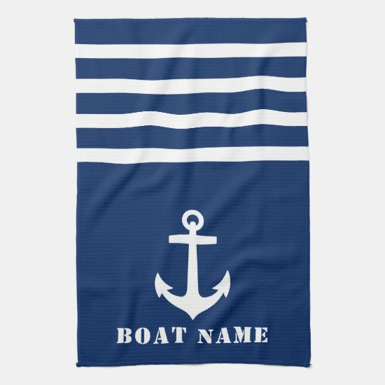 Nautical Classic Anchor Your Boat Name Navy Blue Kitchen Towel
