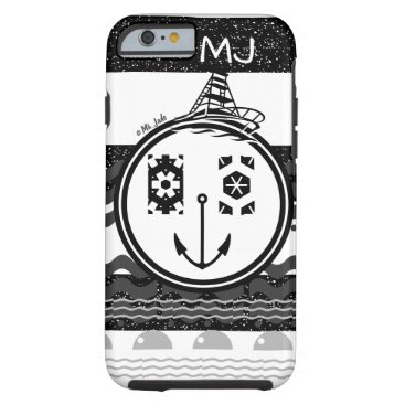 Nautical Clown Face Monogram Bold Black and White Tough iPhone 6 Case