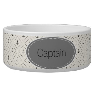 Nautical, Coastal, Anchor Design Pet Food Bowl