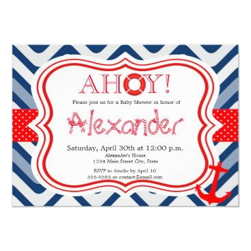 Beach Themed Nautical coastal beach boy baby shower invitation