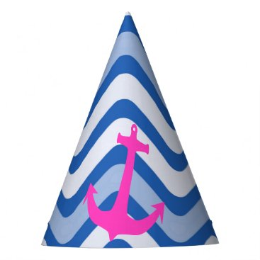 Beach Themed Nautical coastal beach ocean anchor pink paper hat