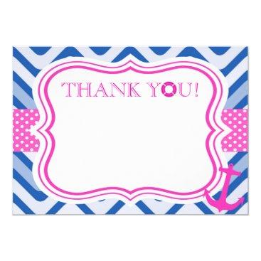 Beach Themed Nautical coastal beach sea girl pink thank you card