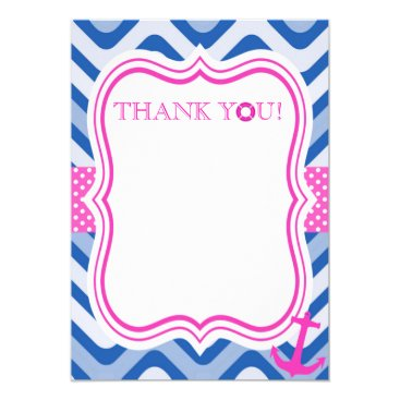 Beach Themed Nautical coastal beach sea pink girl thank you card