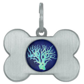 Nautical coastal chic beachy blue Coral Reef Pet ID Tag