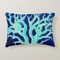 Nautical coastal chic beachy navy Coral Reef Decorative Pillow