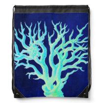 Nautical coastal chic beachy navy Coral Reef Drawstring Backpack