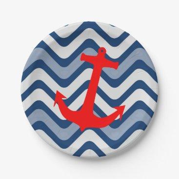 Beach Themed Nautical coastal ocean sea anchor paper plates