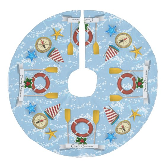 Nautical, Coastal Theme Christmas Tree Skirt