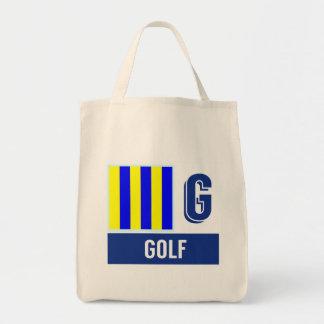 """Nautical Code Flag Alphabet G """"Golf"""" Tote Bag"""