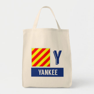"Nautical Code Flag Alphabet Y ""Yankee"" Grocery Tote Bag"