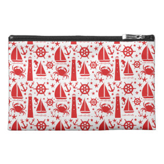 Nautical Collage in Red Travel Accessories Bags