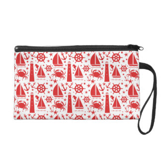 Nautical Collage in Red Wristlet Purses