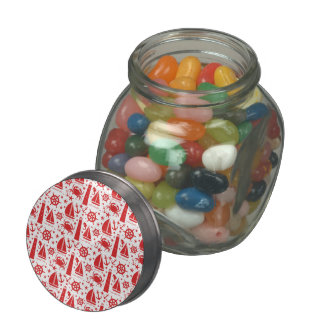 Nautical Collage in Red Glass Candy Jars