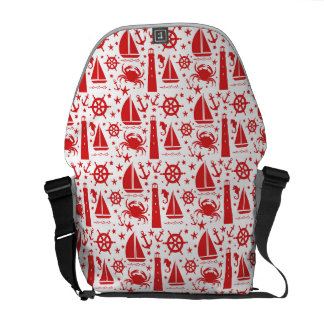 Nautical Collage in Red Courier Bags