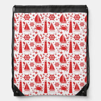 Nautical Collage in Red Cinch Bag