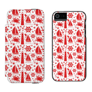 Nautical Collage in Red Wallet Case For iPhone SE/5/5s