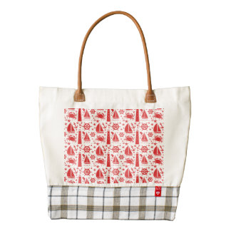Nautical Collage in Red Zazzle HEART Tote Bag