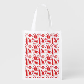 Nautical Collage in Red Market Totes