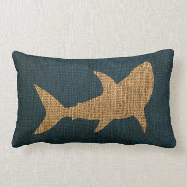 Beach Themed Nautical Collection Shark Deep Sea Blue Lumbar Pillow