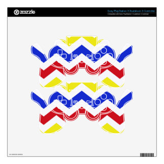 Nautical Colored Zigzag Pattern PS3 Controller Decals