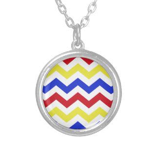 Nautical Colored Zigzag Pattern Round Pendant Necklace