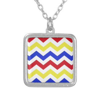 Nautical Colored Zigzag Pattern Silver Plated Necklace