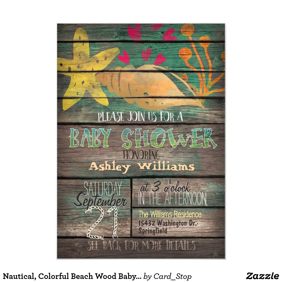 Nautical, Colorful Beach Wood Baby Shower Card