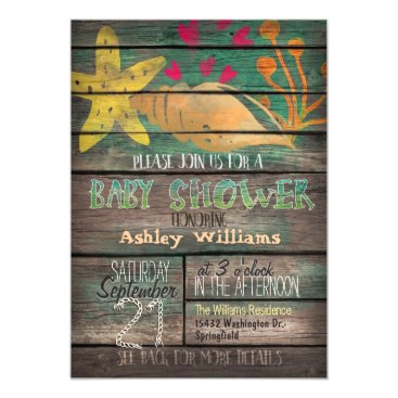 Beach Themed Nautical, Colorful Beach Wood Baby Shower Card
